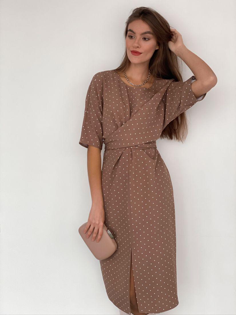 s3187 Платье с перекрутами бежевое в горошек