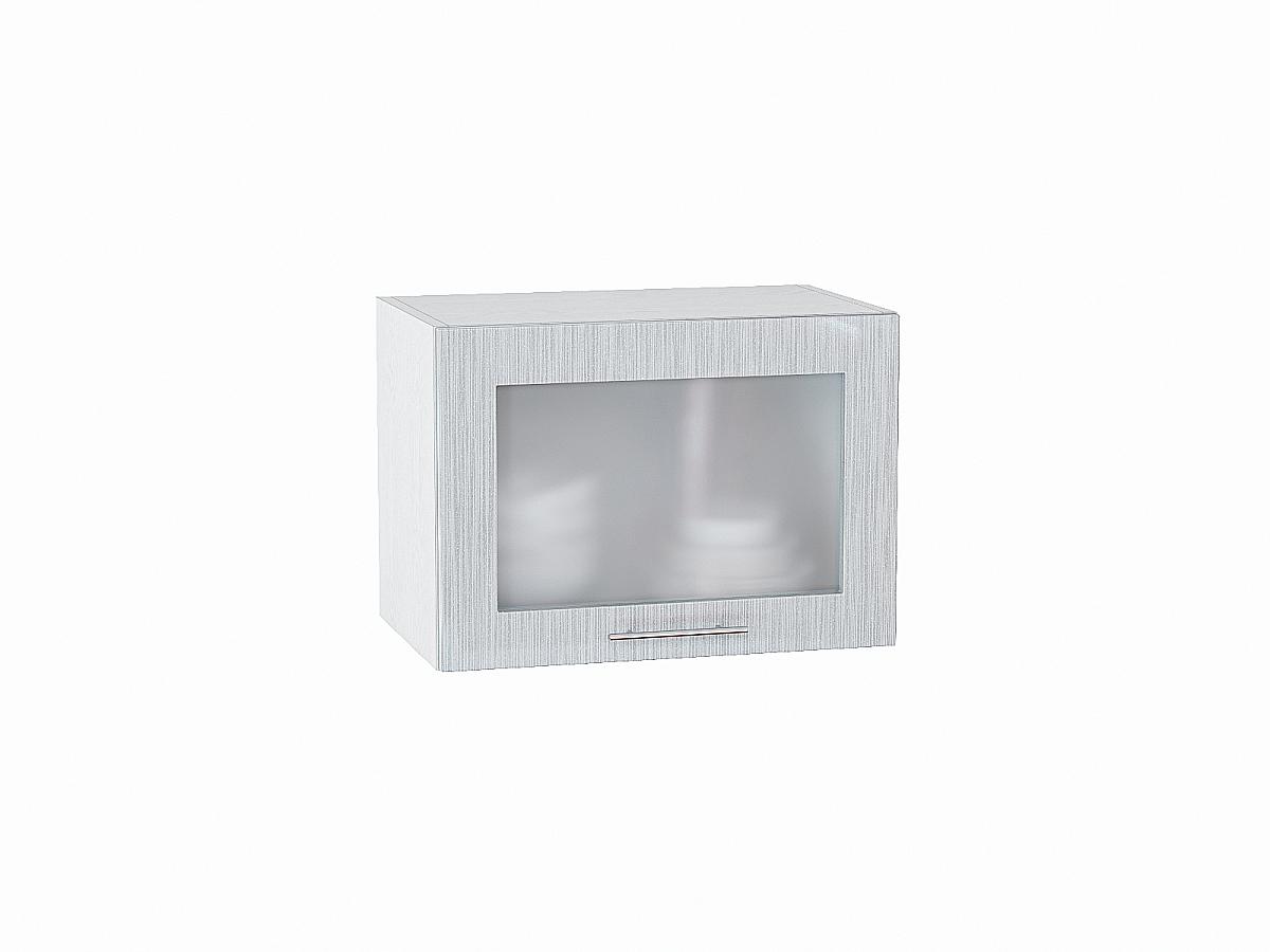 Шкаф верхний Валерия ВГ500 со стеклом (серый металлик дождь)