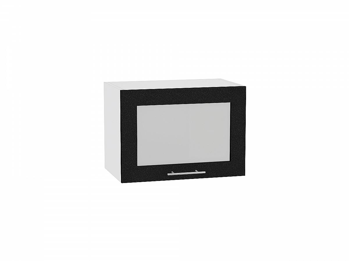 Шкаф верхний Валерия ВГ500 со стеклом (чёрный металлик)