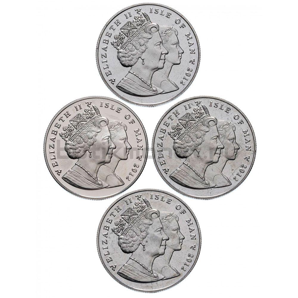 Набор монет 1 крона 2012 Остров Мэн Чемпионат Европы по футболу (4 штуки)