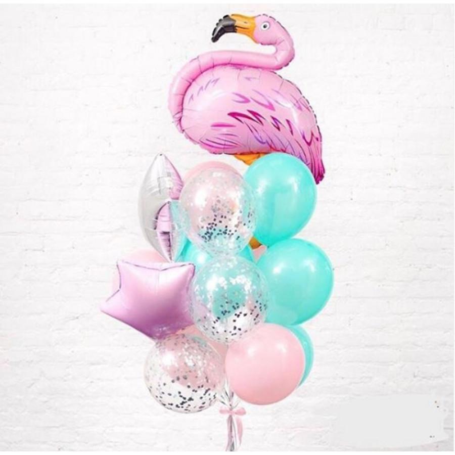 Композиция из  гелиевых шаров Фламинго