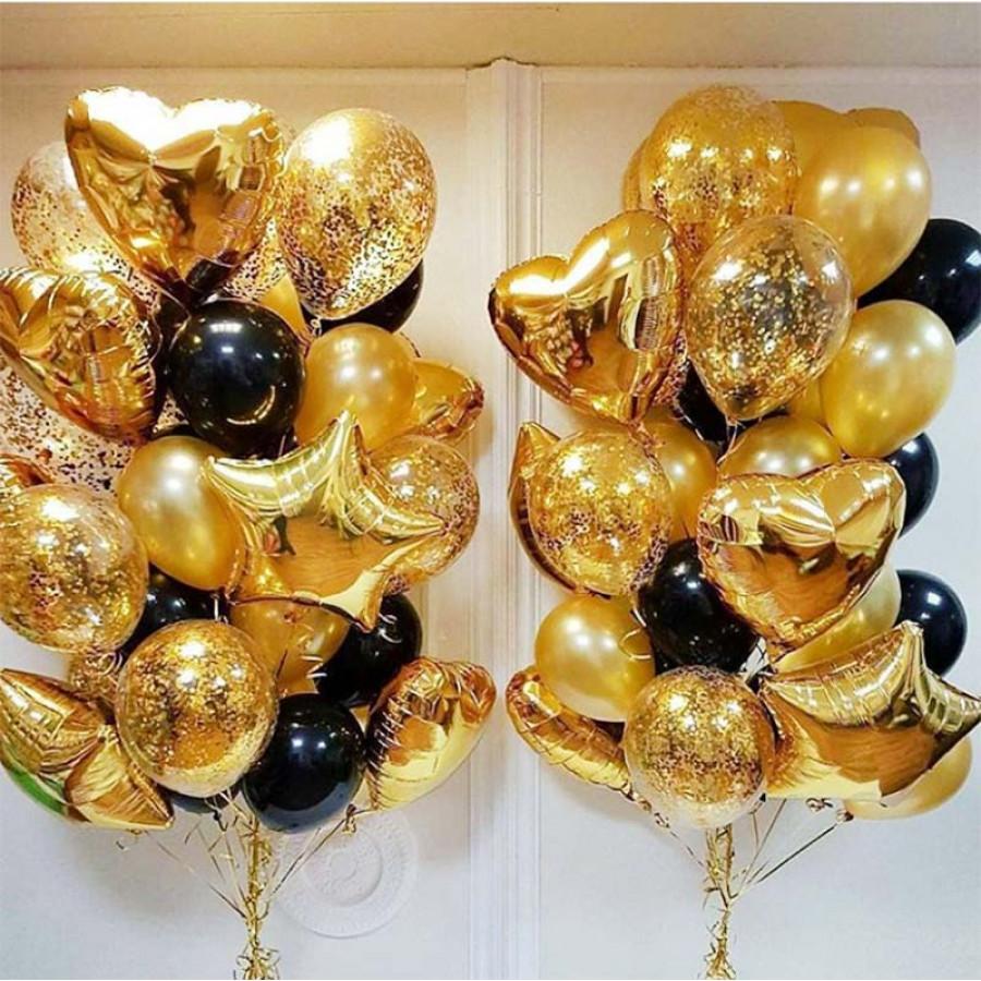 Фонтан из гелиевых шаров Золотой