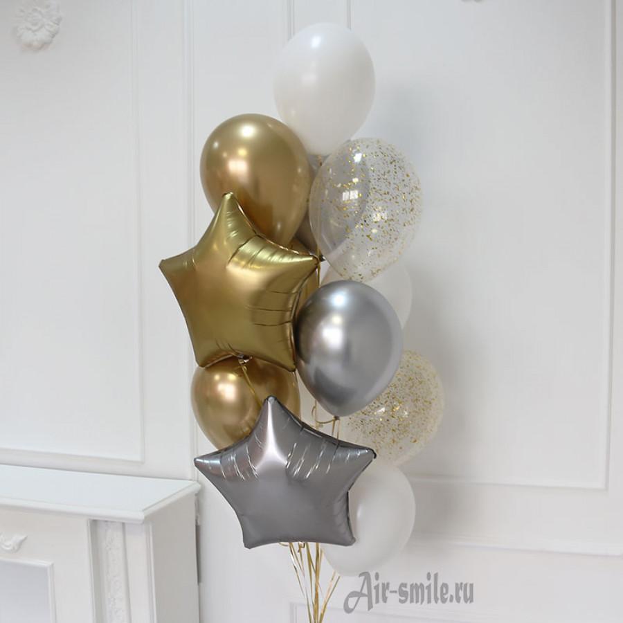 Набор из шаров с гелием Золото и серебро