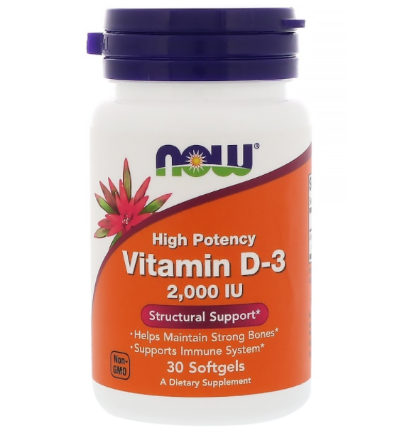 Now Foods Витамин D3 2000 МЕ 30 табл
