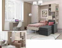 Шкаф кровать с угловым диваном в интерьере