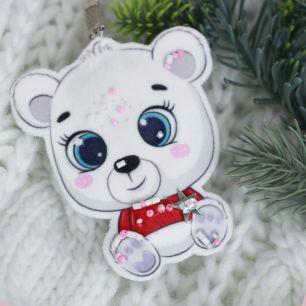 Набор для шитья текстильного брелока-подвески Медвежонок белый