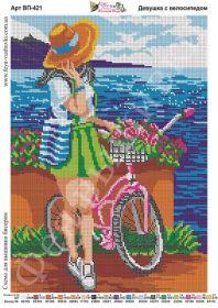 Фея Вышивки ВП-421 Девушка с Велосипедом схема для вышивки бисером купить оптом в магазине Золотая Игла