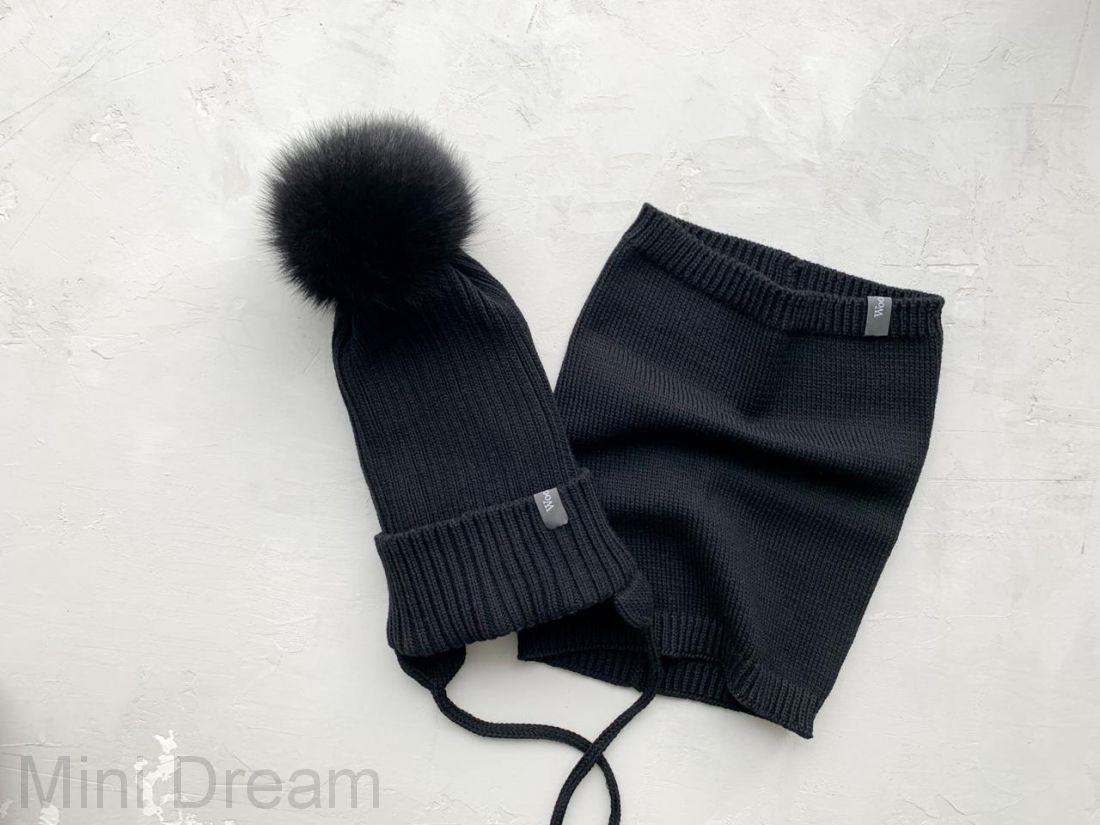 Комплект вязанный зима черный