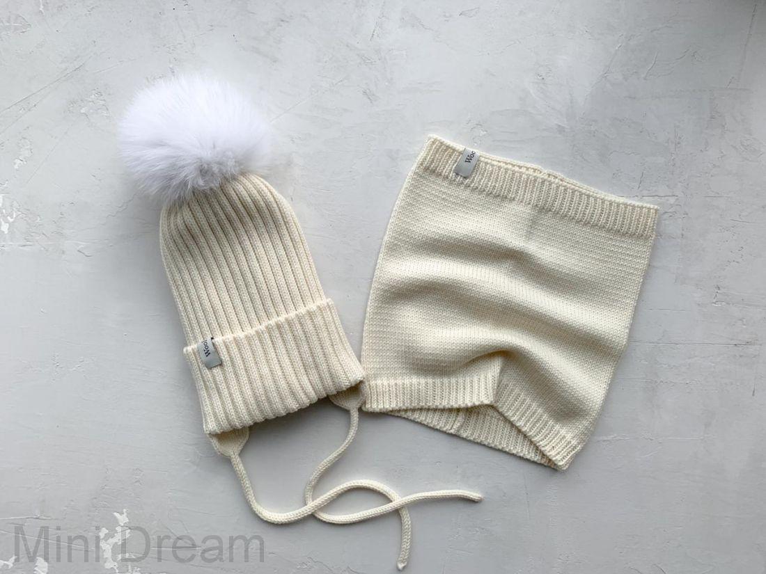 Комплект вязанный зима молочный
