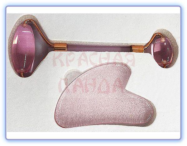 Набор роллер-массажер для лица + скребок гуаша розовый