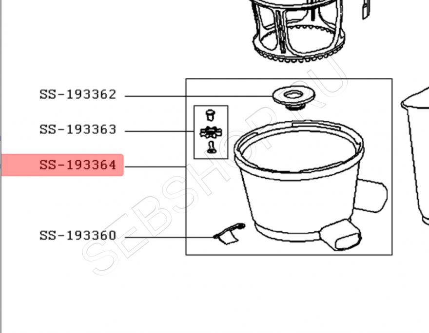 Чаша в сборе шнековой соковыжималки  MOULINEX  INFINY PRESS модели ZN300131. Артикул SS-193364