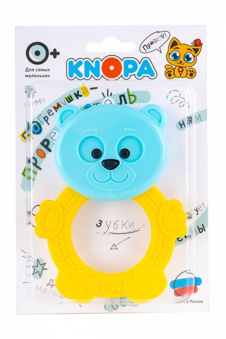 Прорезыватель KNOPA 80049 Мишутка, желто-голубой