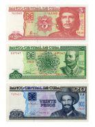 КУБА - набор банкнот 3,5,20 песо 2004-2014г. ПРЕСС UNC