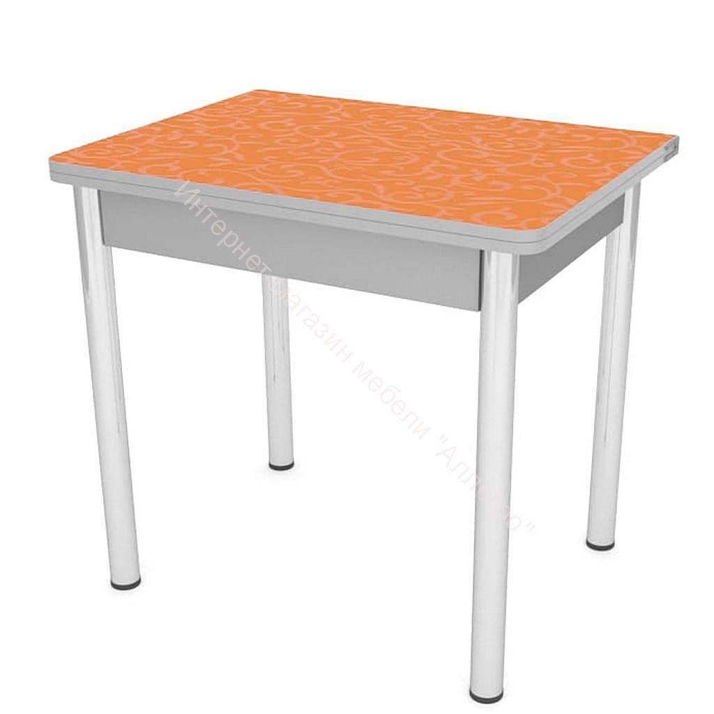 """Стол """"Ломберный"""" раскладной 780х580 (пластик/хром) Оранжевая лоза/Серый"""