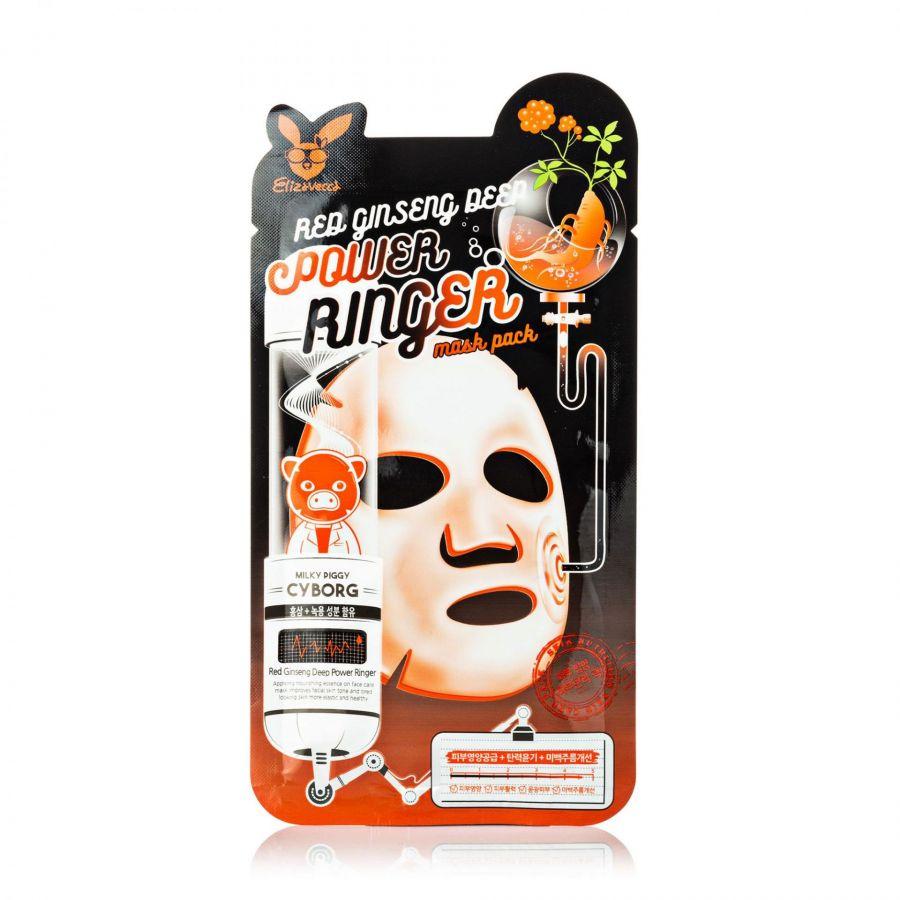 Тканевая маска омолаживающая с женьшенем Elizavecca Red Ginseng Deep Power Ringer Mask Pack 23ml