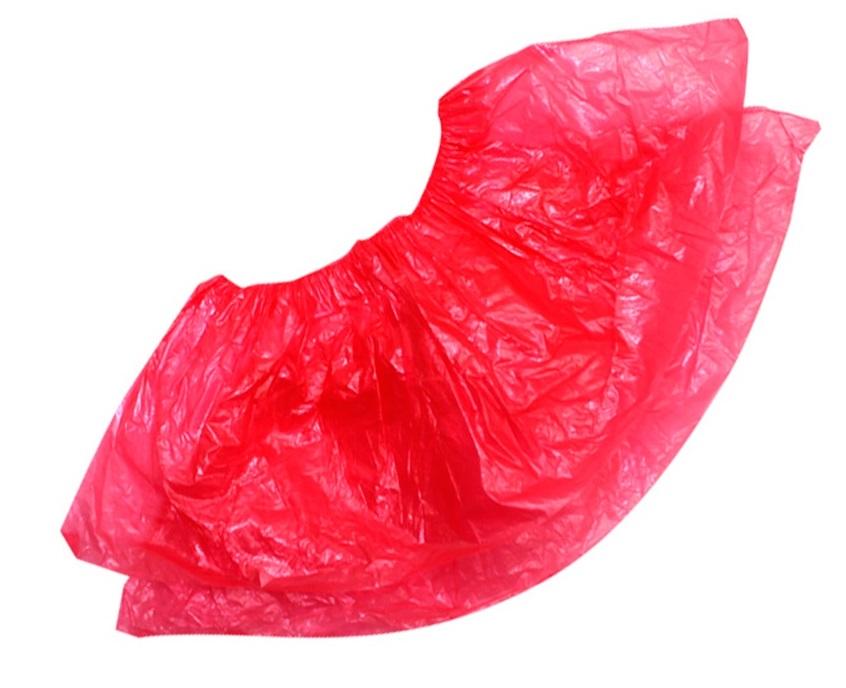 Бахилы полиэтиленовые красные(стандарт) 2.8 гр.
