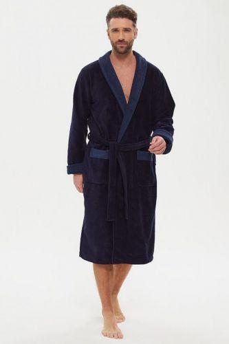 Мужской махровый халат из бамбука Energy темно-синий