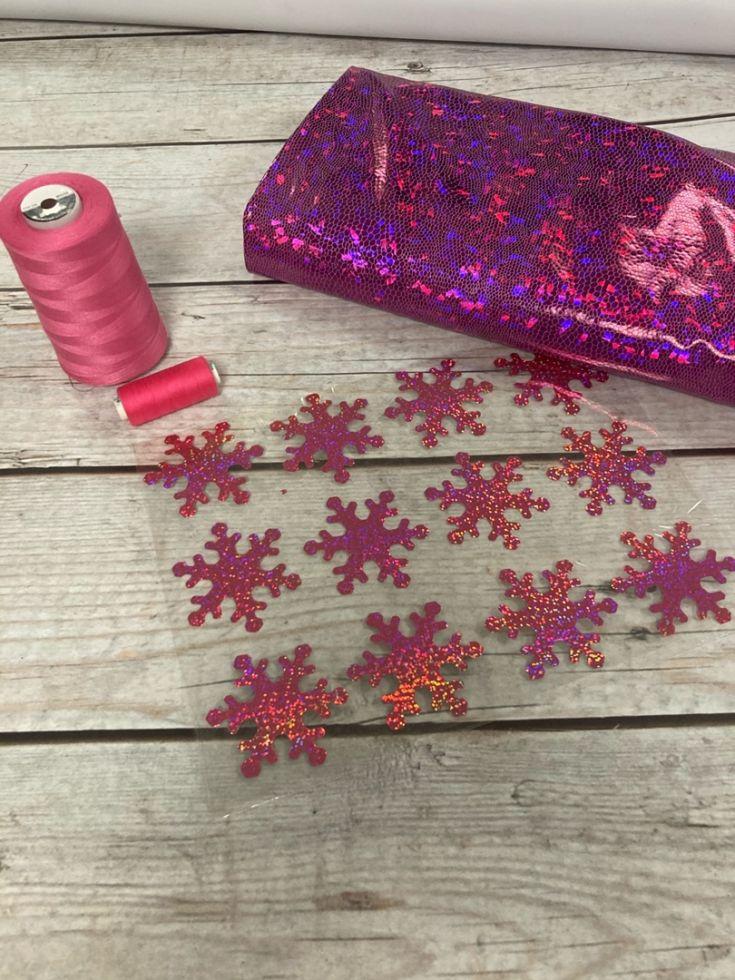 тт снежинки глитер розовый А5
