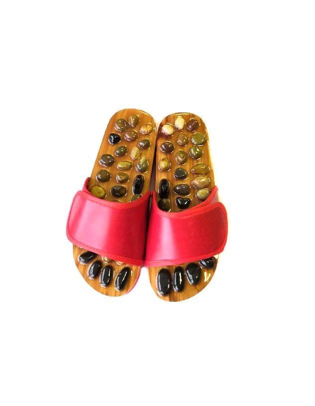 Красные массажные тапочки с нефритом и яшмой
