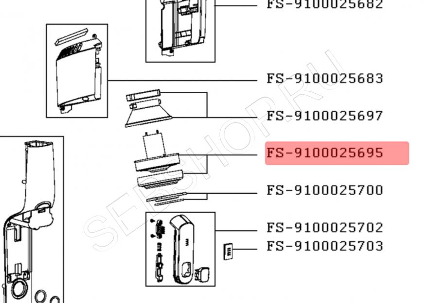 Мотор (электродвигатель) c прокладкой пылесоса TEFAL AIR FORCE LIGHT  TY6543, TY6545, TY6547. Артикул FS-9100025695
