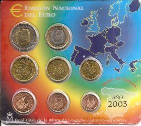 Официальный набор евро-монет  Испания 2003 BU (8 монет)