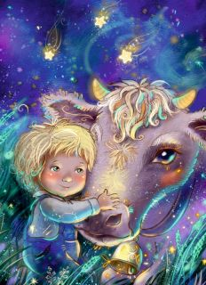 Почтовая открытка Малыш и корова