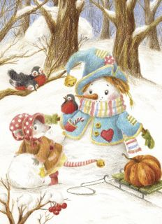 Postcard Snowman and Mouse