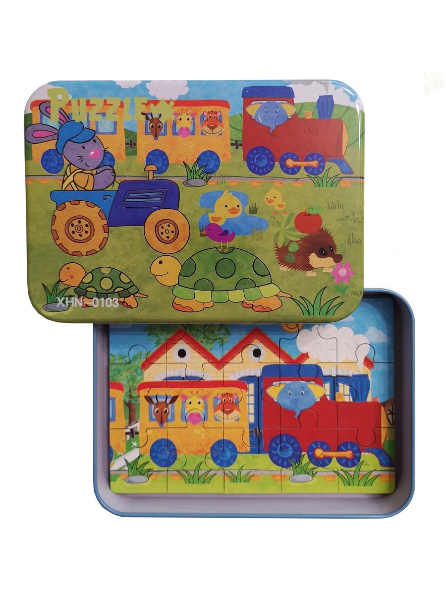 Развивающие пазлы в жестяной коробке SHAPES PUZZLE набор - ЧЕРЕПАХА - 56 элементов, 4 пазла