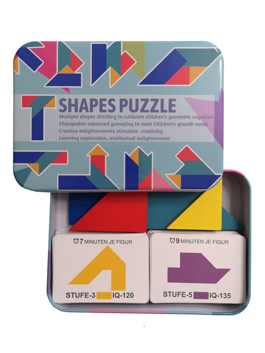 Развивающая головоломка деревянный танграм SHAPES PUZZLE 100 карточек с заданиями 4 фигуры в жестяной коробке