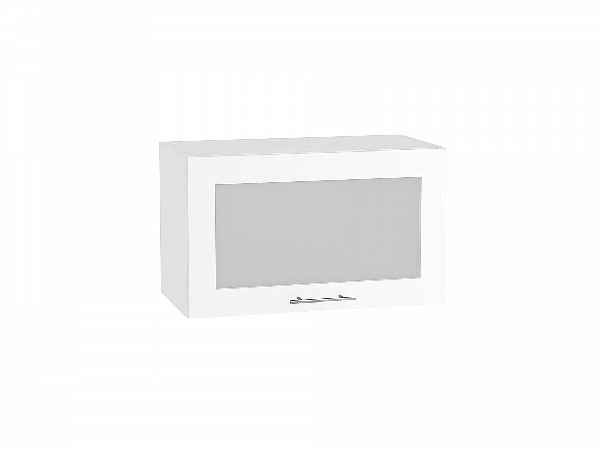 Шкаф верхний Валерия ВГ600 со стеклом (белый глянец)