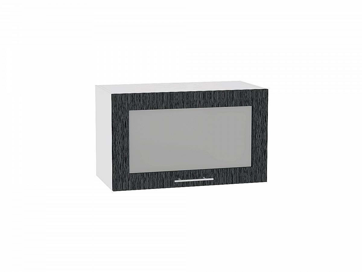 Шкаф верхний Валерия ВГ600 со стеклом (чёрный металлик дождь)