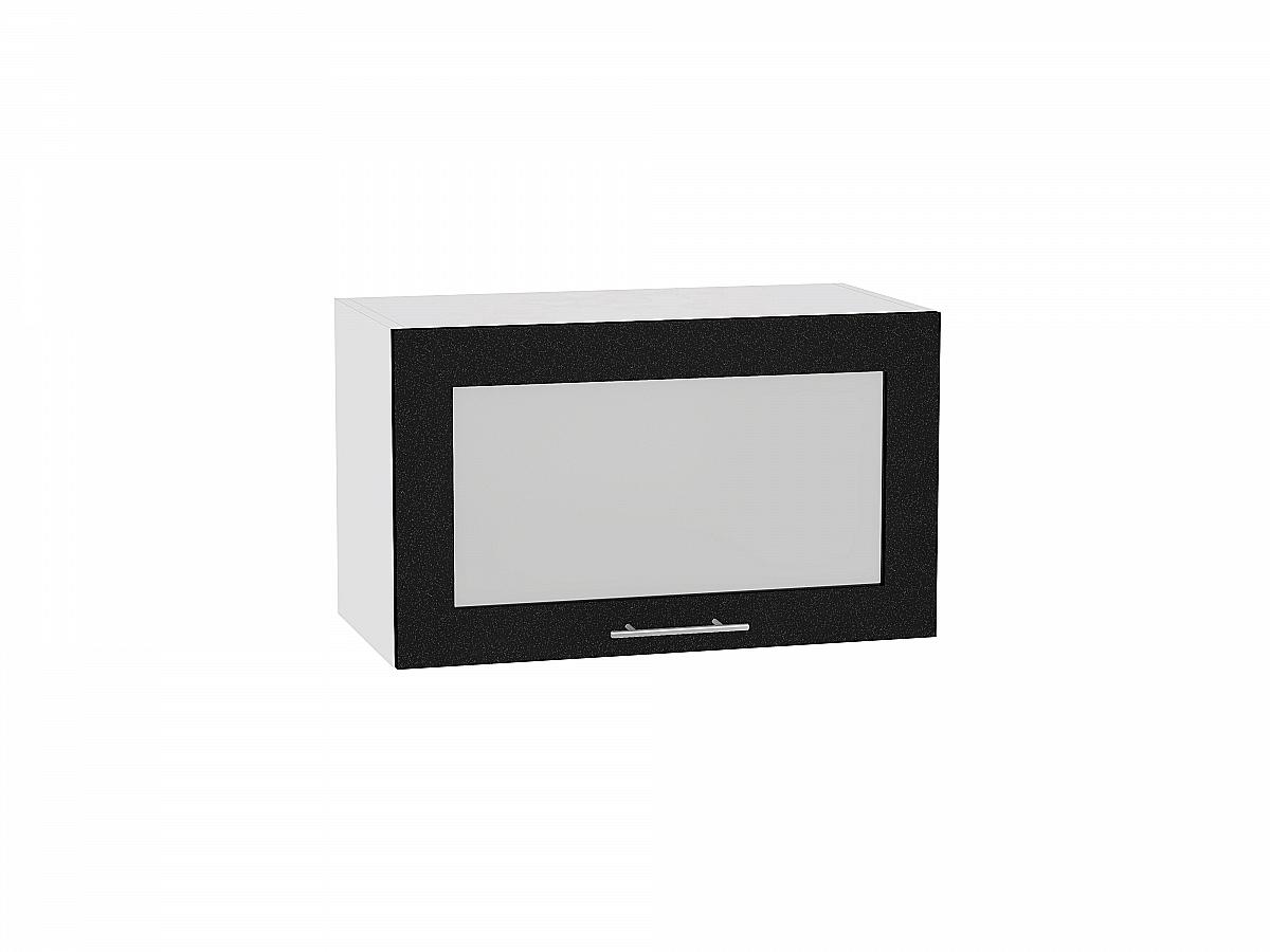 Шкаф верхний Валерия ВГ600 со стеклом (чёрный металлик)