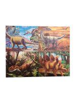 Развивающий пазл SHAPES PUZZLE Динозавры 4 картинки 114 элементов в деревянной коробке