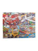 Развивающий пазл SHAPES PUZZLE Транспорт 4 картинки 114 элементов в деревянной коробке