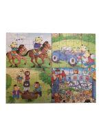Развивающий пазл SHAPES PUZZLE Мультяшные пазлы-1 4 картинки 114 элементов в деревянной коробке