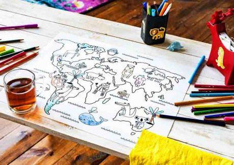 Многоразовая раскраска «Карта мира животные»