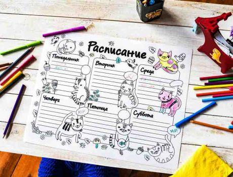 Многоразовая раскраска Расписание «Котики»