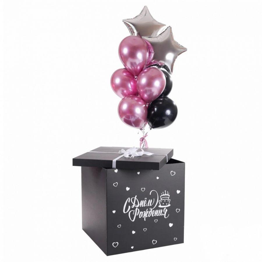 Коробка сюрприз для воздушных шаров с наполнением 60*60*60 см черная