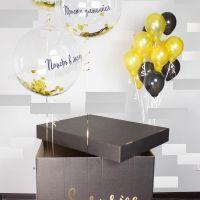 Коробка сюрприз с гелиевыми шарами и индивидуальной надписью