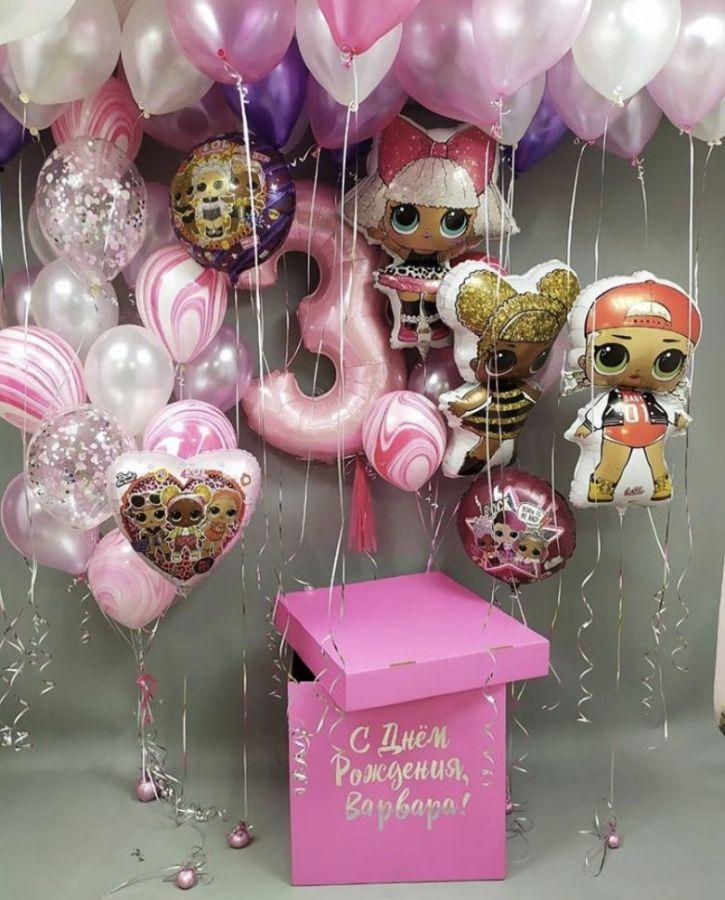 Большая розовая коробка-сюрприз с шарами ЛОЛ №2, 60х60х60 см