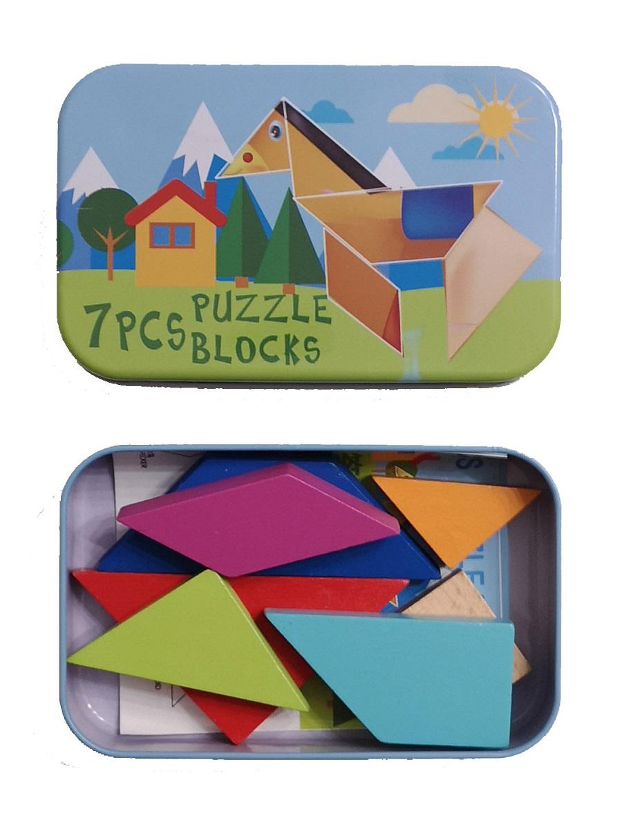 Развивающая головоломка деревянный танграм SHAPES PUZZLE 86 заданий, 7 деревянных блоков  Лошадь в жестяной коробке