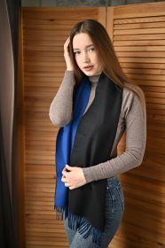 Роскошный двусторонний кашемировый шарф Гамильтон Контраст (Черный и синий) Hamilton Contrast BLACK and BLUE REVERSIBLE  (100% драгоценный кашемир),   высокая плотность 7