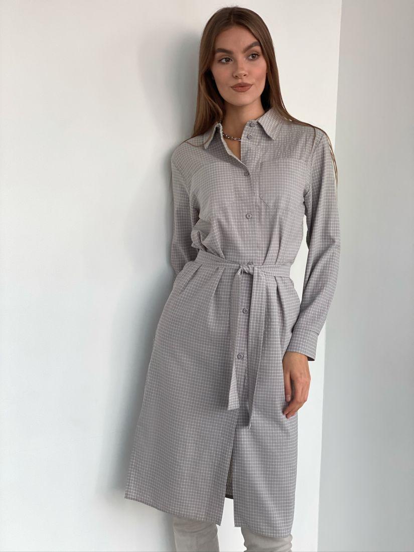 s2853 Платье-рубашка в клетку серое