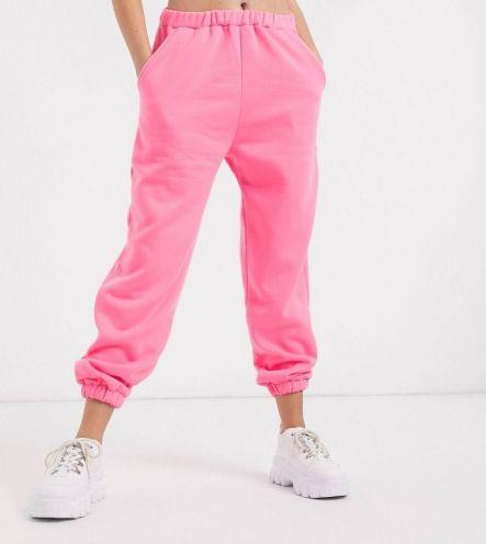 Джоггеры женские на флисе / цвет розовый