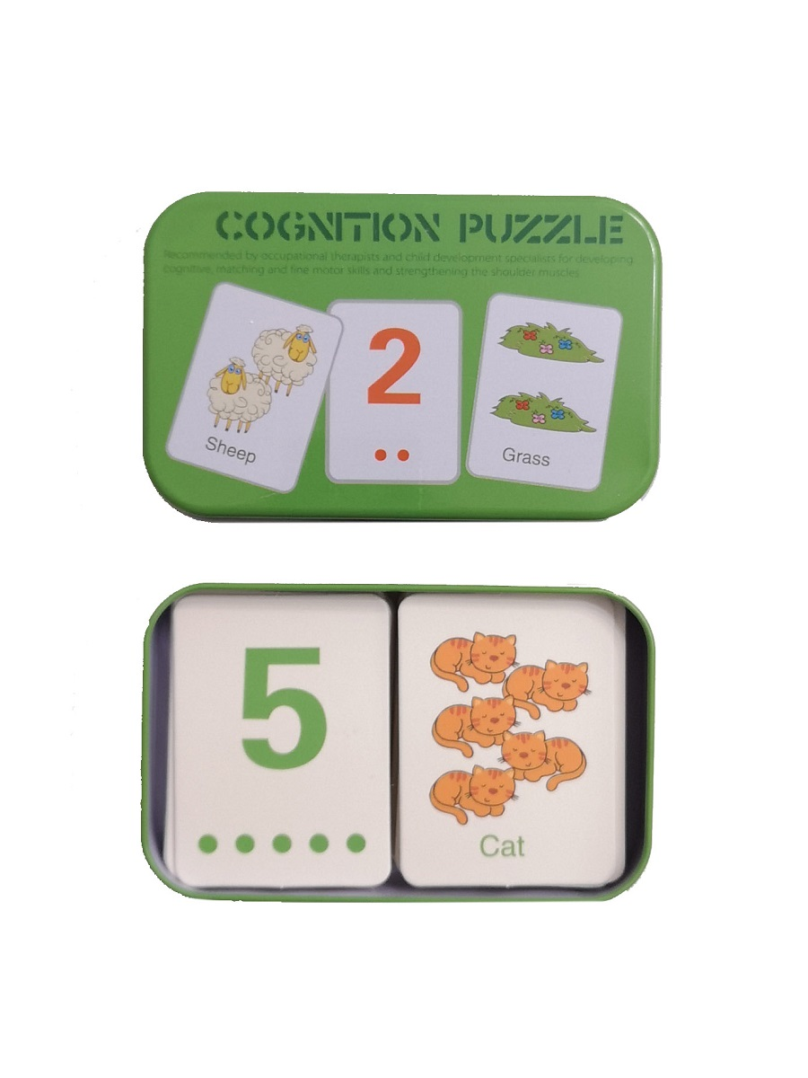 Развивающие и обучающие карточки SHAPES PUZZLE 30 карточек 30 заданий 30 слов Вариант 2 Серия Буквы и цифры в жестяной коробке