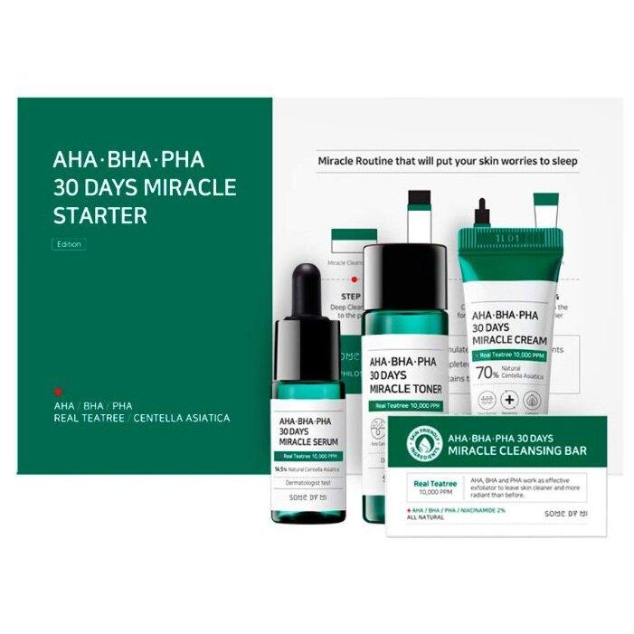 Набор по уходу за проблемной кожей с AHA-BHA-PHA кислотами Some By Mi AHA-BHA-PHA 30 Days Miracle Starter Kit (Мыло 30g + Тонер 30ml + Сыворотка 10ml + Крем 20g) ХИТ