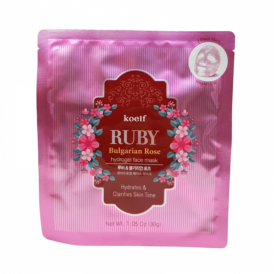Гидрогелевая маска болгарской розой KOELF Ruby Bulgarian Rose Hydrogel Face Mask 30g ХИТ