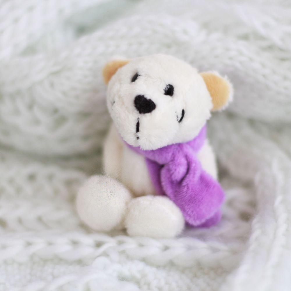 Мишка NICI с сиреневым шарфом 10 см