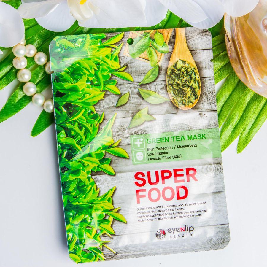 Тканевая маска экстрактом зеленого чая Eyenlip Super Food Mask - Green Tea