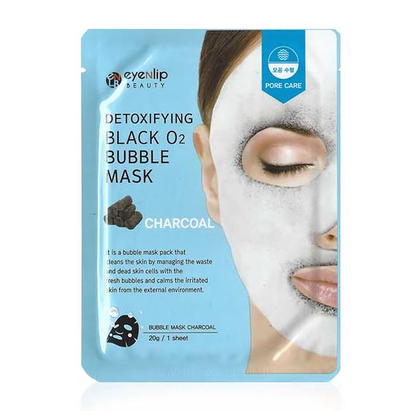 Кислородная тканевая маска для лица с древесным углем очищающая Eyenlip Detoxifying Black O2 Bubble Mask - Charcoal 20 гр